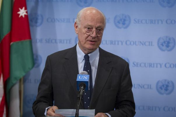 Staffan de Mistura, the Secretary-General's Special Representative (SRSG) for Iraq briefs press after closed Security Council consultations. UN Photo by Loey Felipe.